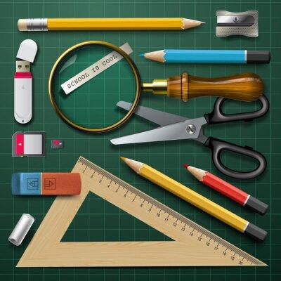 Quadro Materiale scolastico Colorful, vettore eps10.