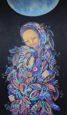 Quadro Maternità. Madonna con Bambino. Bella pittura acrilica su tela di donna in abiti fogliame con bambino, sotto la luna sciocco su sfondo nero. Disegno a mano ritratto. Modello foglia. Arredamento d'inte