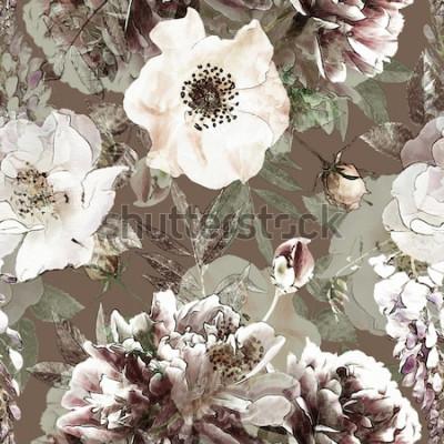 Quadro matita arte vintage motivo floreale colorato seamless con rose bianche e peonie su sfondo verde. Doppia esposizione ed effetto bokeh