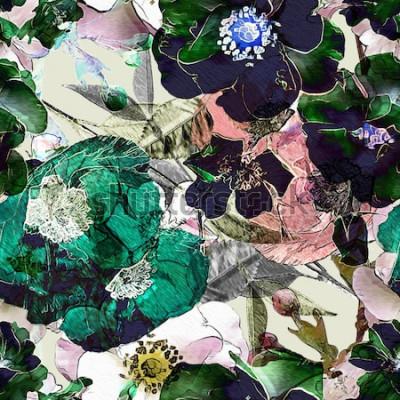 Quadro matita arte vintage motivo floreale colorato seamless con rose nere e papaveri verdi su sfondo chiaro. Doppia esposizione ed effetto bokeh