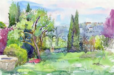 Quadro Mattina nel giardino all'italiana. Acquerello