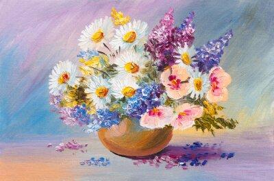 Quadro mazzo di fiori estivi, ancora pittura a olio di vita