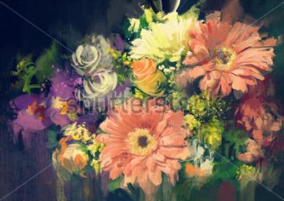 Quadro mazzo di fiori in stile di pittura ad olio, illustrazione