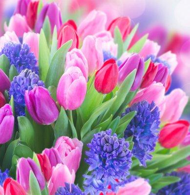 Quadro mazzo di giacinto blu e tulipani