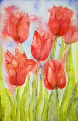 Quadro Mazzo di tulipani in un campo. La tecnica tamponando vicino ai bordi dà un effetto soft focus dovuto alla rugosità superficiale alterata della carta.