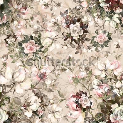 Quadro Mazzo senza cuciture del modello dell'acquerello delle rose in germoglio Y. Bello modello per la decorazione e la progettazione. Stampa alla moda. Modello squisito di schizzi ad acquerello del fio