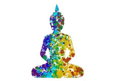 Quadro Meditando Buddha postura nei colori dell'arcobaleno