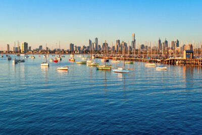 Quadro Melbourne skyline da St Kilda al tramonto (Victoria, Australia)