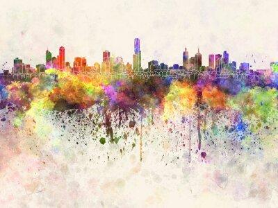 Quadro Melbourne skyline in sfondo acquerello