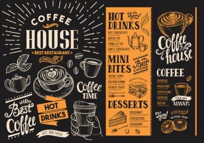 Quadro Menu del ristorante caffè. Flyer di bevande per bar e caffè. Modello di progettazione con illustrazioni di cibo disegnato a mano d'epoca.
