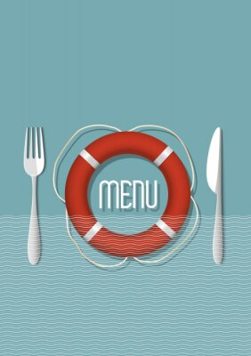 Quadro Menu design retrò per ristorante di pesce - variazione 5