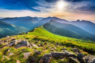 Quadro Meraviglioso tramonto in montagna in estate