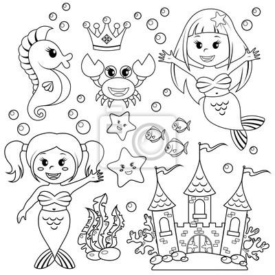 Mermaid Castello Subacquea E Animali Marini Pesci Stelle Marine