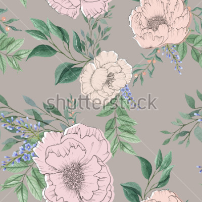 Quadro mix di sfondo acquerello senza soluzione di continuità colorato fiore floreale e foglie con la linea arte utilizzata per texture di sfondo, carta da imballaggio, tessile o carta da parati design