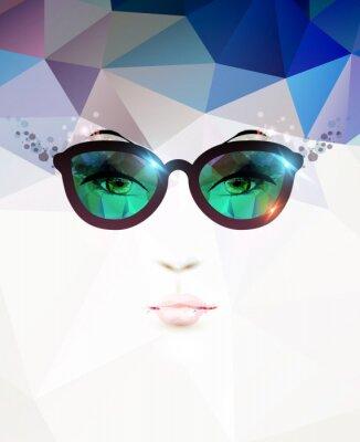 Quadro moda donna con gli occhiali
