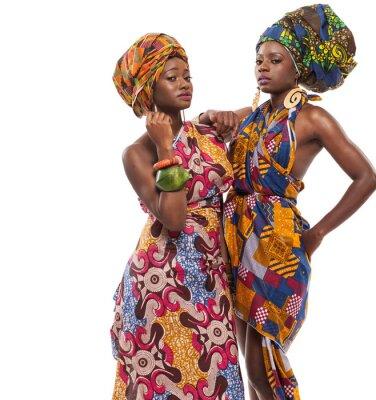 Quadro Modelli femminili in posa in abiti africani.