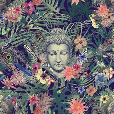 Quadro Modello acquerello disegnato a mano senza soluzione di continuità con testa di buddha, maharajah, fiori, piume, palme.
