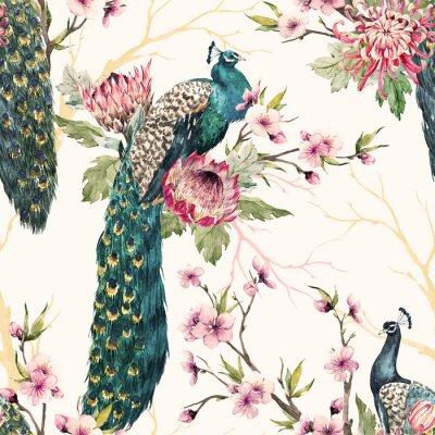 Quadro Modello acquerello pavone