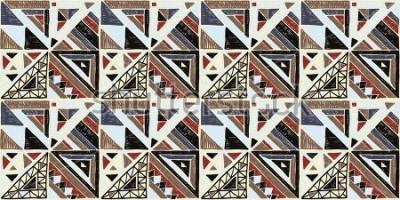 Quadro Modello africano geometrico senza soluzione di continuità. Ornamento etnico sul tappeto. Stile azteco Struttura etnica tribale vettoriale. Ricamo su tessuto. Modello indiano, messicano, folk. Quilting