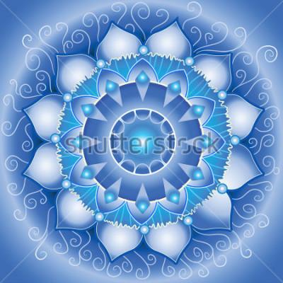 Quadro modello astratto blu, mandala del vettore di chakra di vishuddha