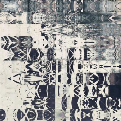 Quadro modello astratto geometrico orizzontale delle bande di arte, fondo monocromatico strutturato di carta nei colori di grigio bianchi, neri e blu; ornamento senza soluzione di continuità verticale