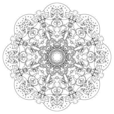 Quadro Modello circolare con uccelli e fiori in stile Doodle