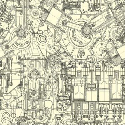 Quadro Modello del motore di disegno, sfondo. Seamless pattern può essere utilizzato per carta da parati, riempimenti a motivo, sfondo della pagina web, trame di superficie.