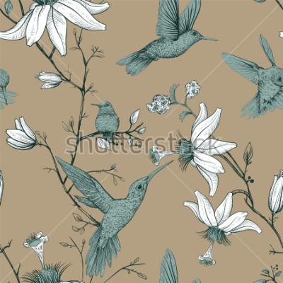 Quadro Modello di disegno vettoriale con uccelli e fiori. Modello senza cuciture antico con fiori disegnati. Carta da parati floreale di Provenza. Design per il web, carta da imballaggio, copertina, tessile,