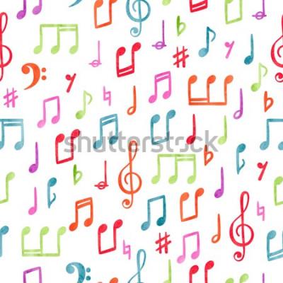 Quadro Modello di note musicali colorate senza soluzione di continuità. Sfondo acquerello musicale
