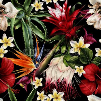 Quadro Modello floreale senza cuciture con fiori tropicali, acquerello.