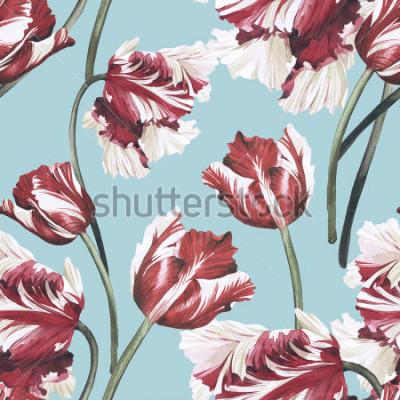 Quadro Modello floreale senza cuciture con i tulipani, acquerello