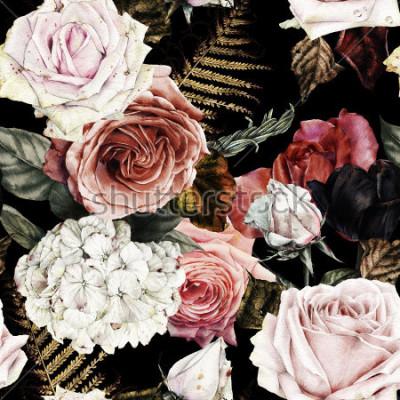 Quadro Modello floreale senza cuciture con le rose, acquerello.