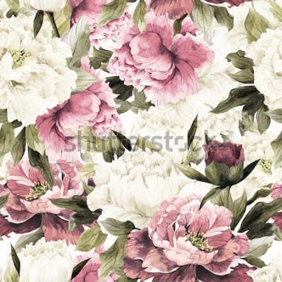 Quadro Modello floreale senza cuciture con le rose su fondo bianco, acquerello.
