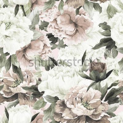 Quadro Modello floreale senza cuciture con le rose su fondo leggero, acquerello.