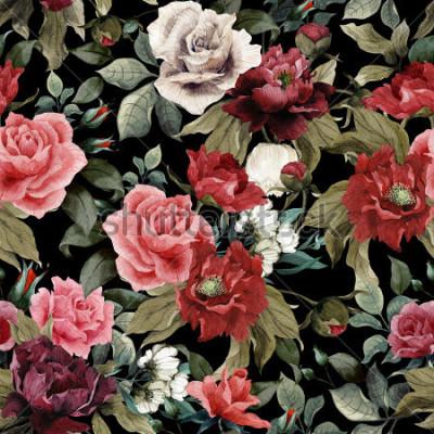 Quadro Modello floreale senza cuciture con rosa rosa e peonie su sfondo scuro, acquerello