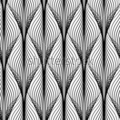 Quadro Modello geometrico astratto con linee ondulate. Sfondo senza soluzione di continuità Ornamento monocromatico Versione rasterizzata