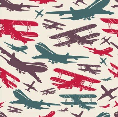 Quadro Modello retrò senza soluzione di continuità aeroplano, vecchio sfondo strutturato per poster