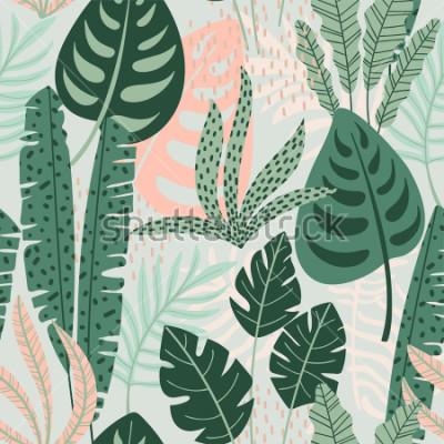 Quadro Modello senza cuciture astratto con foglie tropicali. Mano disegnare trama. Modello vettoriale