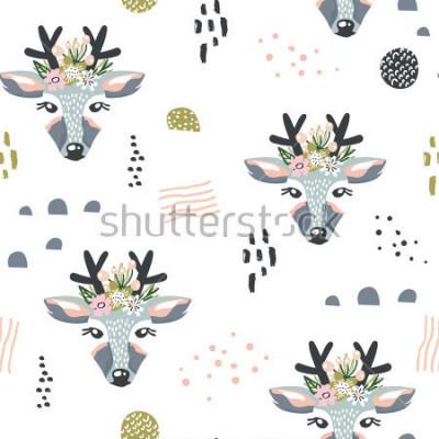 Quadro Modello senza cuciture con cervi, elementi floreali, rami. Sfondo creativo del terreno boscoso Perfetto per abbigliamento per bambini, tessuto, tessile, decorazione vivaistica, carta da imballaggio. i