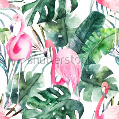 Quadro Modello senza cuciture con fenicottero e foglie. Stampa acquerello estate Illustrazione disegnata a mano esotica