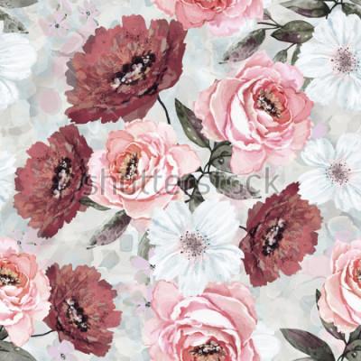Quadro Modello senza cuciture con fiori e foglie. Sfondo floreale per carta da parati, carta e tessuto. Dipinto ad acquerello con rose rosa e bordeaux.