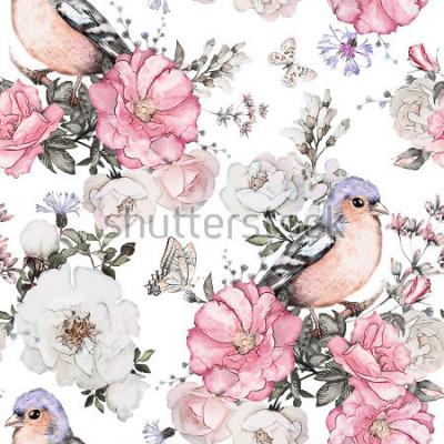 Quadro Modello senza cuciture con i fiori rosa, uccello - fringuello e foglie su fondo bianco, modello floreale dell'acquerello, fiore rosa in colore pastello, mattonelle per carta da parati, carta d'