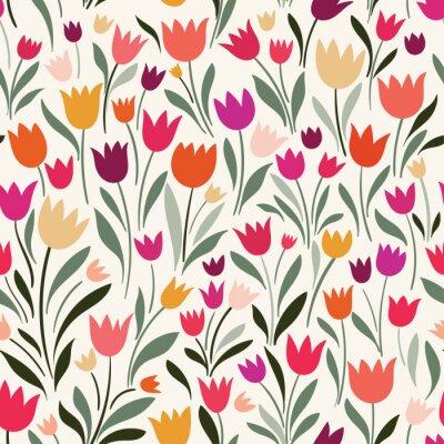 Quadro Modello senza cuciture con i tulipani disegnati a mano