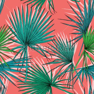 Quadro Modello senza cuciture con l'immagine di una palma verde Fan foglie su uno sfondo di corallo. Illustrazione vettoriale