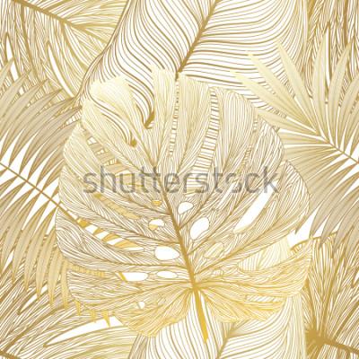 Quadro Modello senza cuciture con palme foglia tropicale. Illustrazione vettoriale
