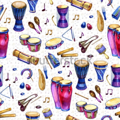 Quadro Modello senza cuciture con tamburi in stile acquerello su sfondo bianco. Strumenti musicali a percussione. Design colorato per la festa retrò in stile memphis. illustrazione
