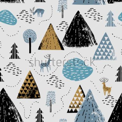 Quadro Modello senza cuciture con un paesaggio di montagna, renna e foresta. Perfetto per carta, inviti, carta da parati, banner, asilo nido, baby shower, decorazioni per bambini. Paesaggio scandinavo