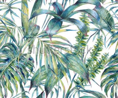 Quadro Modello senza cuciture dell'acquerello esotico delle foglie naturali, foglie tropicali verdi, felce, giungla densa, illustrazione botanica dipinta a mano di estate su fondo bianco
