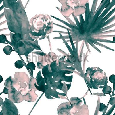Quadro Modello senza cuciture dell'acquerello floreale esotico retrò blu turchese della Boemia. Sfondo morbido tessuto femminile con banana, foglie di fan, rose. Stampe tropicali della carta da parati de