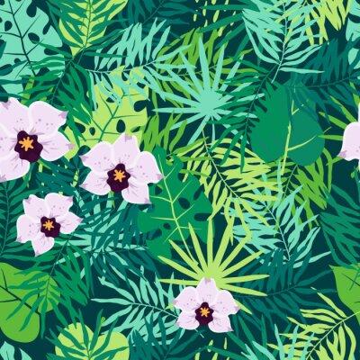 Quadro Modello senza cuciture della giungla con foglie e orchidee tropicali.